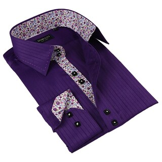 Domani Blue Luxe Men's Purple/ Floral Trim Button-down Dress Shirt