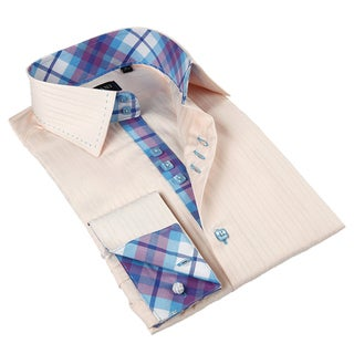 Domani Blue Luxe Men's Beige/ Plaid Trim Button-down Dress Shirt