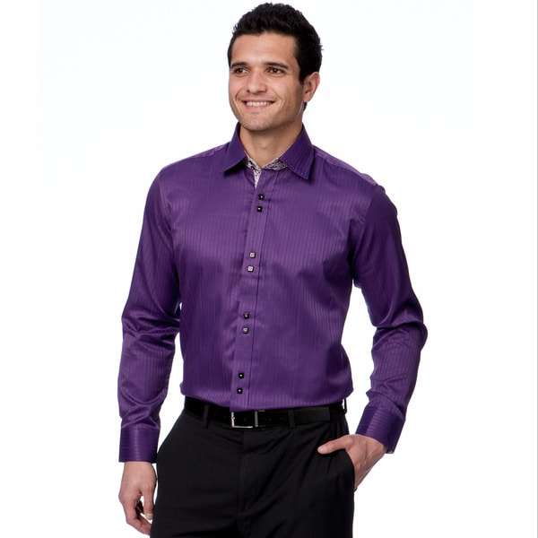0968c32e8fb5 Shop Domani Blue Luxe Men's Purple/ Floral Trim Button-down Dress ...