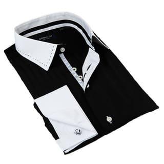 Domani Blue Luxe Men's Black/ White Trim Button-down Dress Shirt|https://ak1.ostkcdn.com/images/products/9493768/P16674273.jpg?impolicy=medium