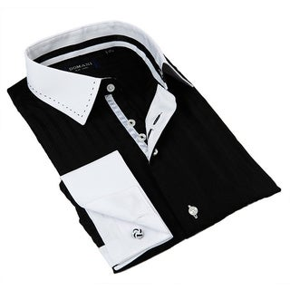 Domani Blue Luxe Men's Black/ White Trim Button-down Dress Shirt