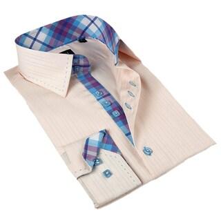 Domani Blue Luxe Men's Beige/ Plaid-trim Button-down Dress Shirt