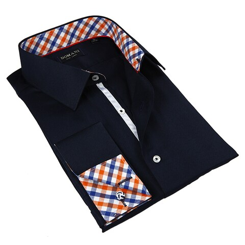 Domani Blue Luxe Men's Navy and Gingham Plaid Button-down Dress Shirt