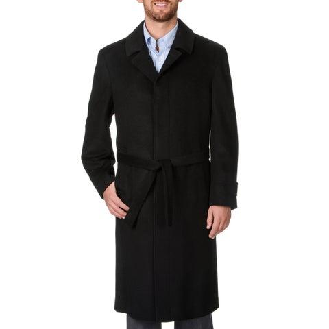 Prontomoda Men's 'Ronald' Black Wool and Cashmere Full-length Coat