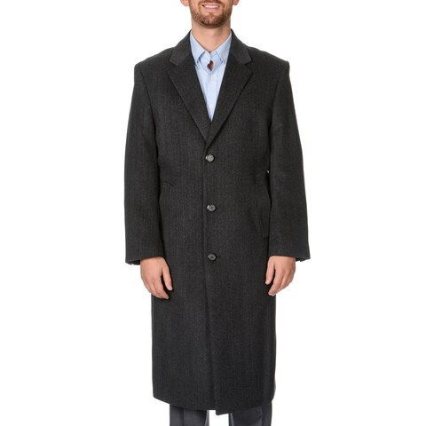Pronto Moda Men's 'Harvard' Charcoal Herringbone Full-length Coat
