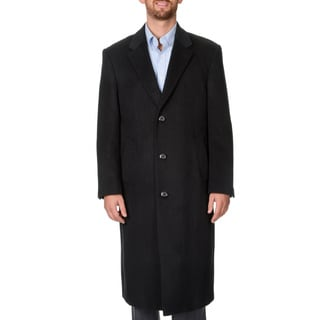 Pronto Moda Men's 'Harvard' Black Herringbone Full-length Coat