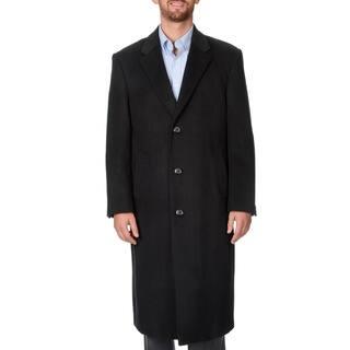 Pronto Moda Men's 'Harvard' Black Herringbone Full-length Coat (Option: 42l)|https://ak1.ostkcdn.com/images/products/9493796/P16674295.jpg?impolicy=medium