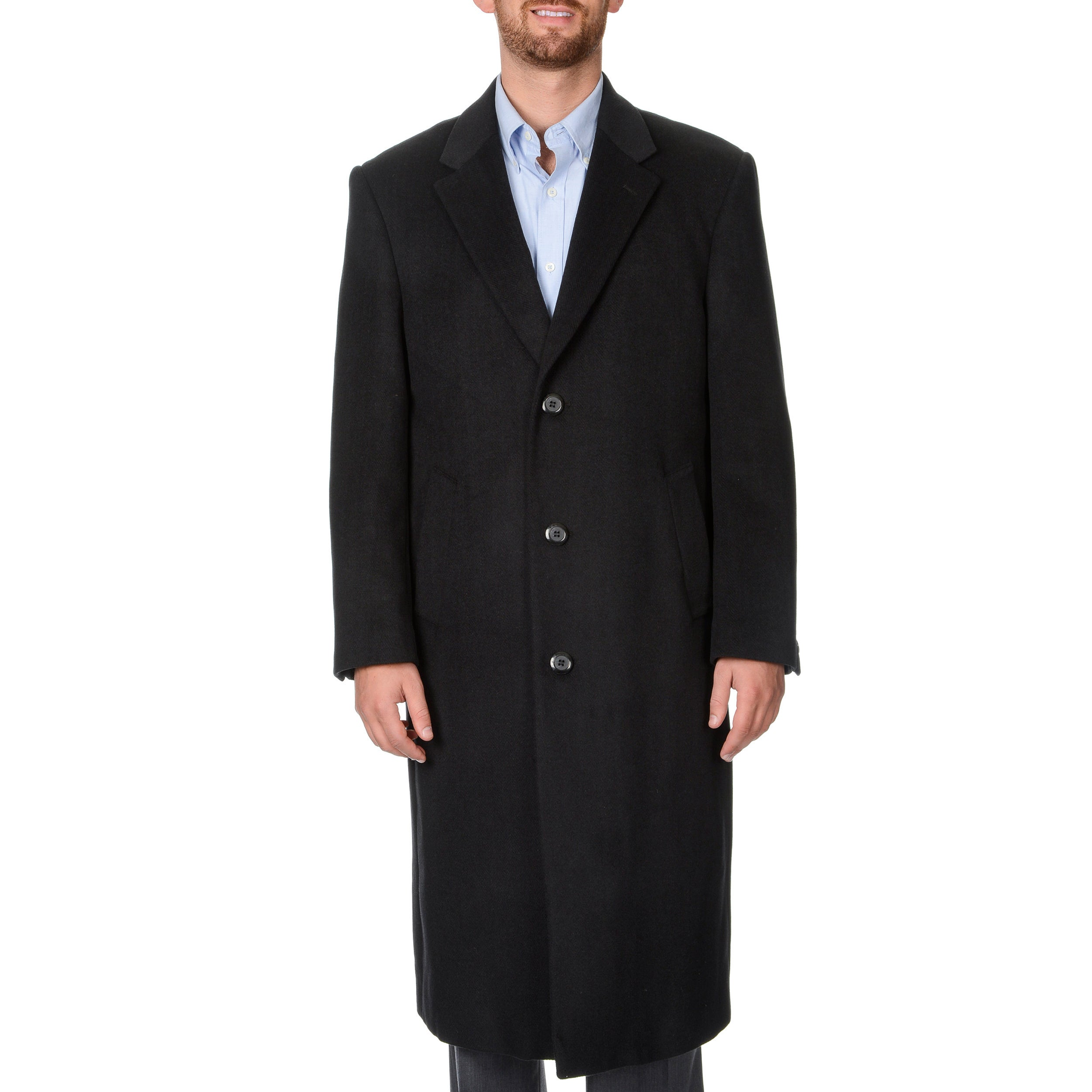 Pronto Moda Men's 'Harvard' Black Herringbone Full-length...