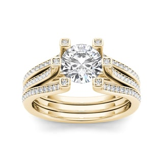 De Couer 14k Yellow Gold 1 1/2ct TDW White Diamond Engagement Ring
