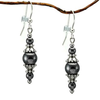 Jewelry by Dawn Round Hematite with Pewter Accents Dangle Earrings