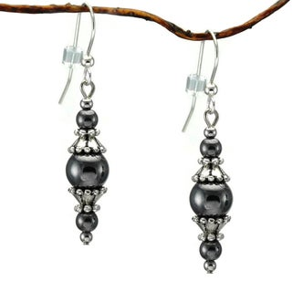 Handmade Jewelry by Dawn Round Hematite with Pewter Accents Dangle Earrings