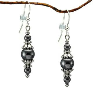 Handmade Jewelry By Dawn Round Hemae With Pewter Accents Dangle Earrings Usa