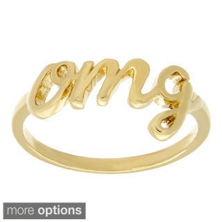 Sterling Essentials Silver Script OMG Word Ring (More options available)