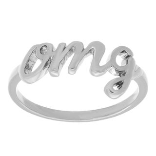 Sterling Essentials Silver Script OMG Word Ring