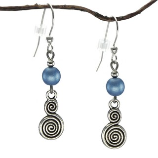 Jewelry by Dawn Blue With Double Swirl Dangle Earrings