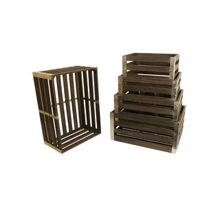Distressed Wood Crates (Set of 5)