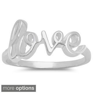 Sterling Essentials Silver Love Script Ring