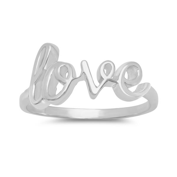 Sterling Essentials Silver Love Script Ring