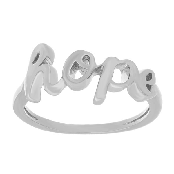 Sterling Essentials Silver Hope Script Ring