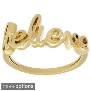 Sterling Essentials Silver Believe Script Ring