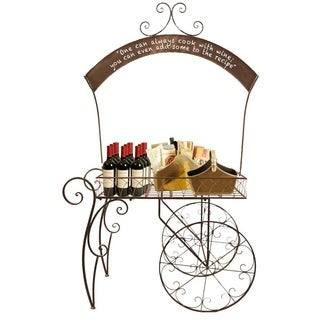 Wald Imports Rolling Metal Display Cart with Chalkboard Arch