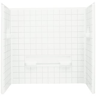 Advantage 35.25 x 60 x 59.25 inch. 3-Piece Tongue and Groove Tile Seated Shower Wall Set in White