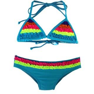 Azul Swimwear Girl's Blue Chasing Rainbows Triangle Bikini