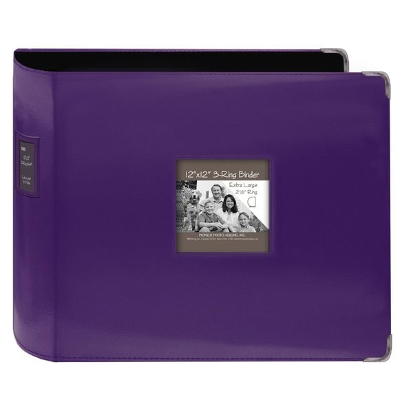 Pioneer jumbo 3 ring bright purple leatherette frame for American crafts 3 ring scrapbook album binder