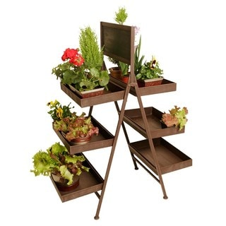 Wald Imports Folding 6-shelf Metal Display with Chalkboard