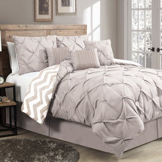 Ella Pinch Pleat Reversible Comforter Set with Throw Pillows (Queen - Taupe)