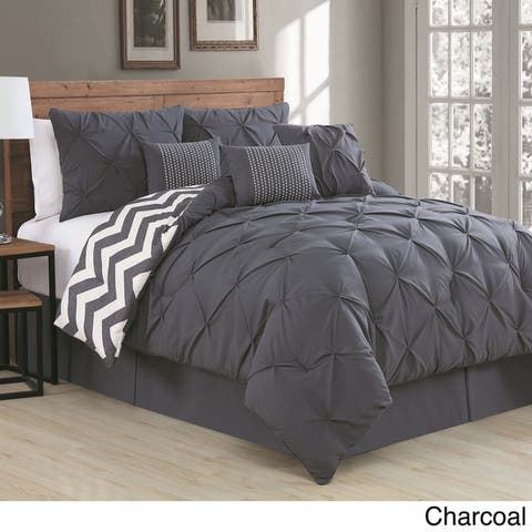 Ella Pinch Pleat Reversible Comforter Set with Throw Pillows