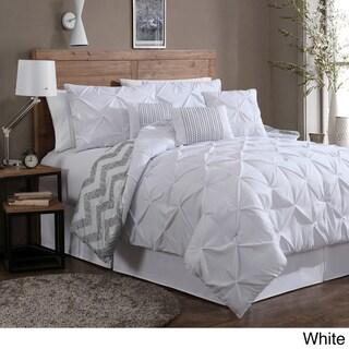 Porch & Den Crestline Bienville Pinch Pleat 7-piece Reversible Comforter Set (Option: White - King)