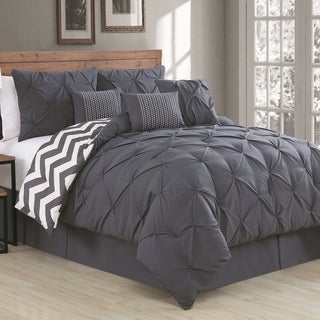 avondale manor ella pinch pleat reversible 7piece comforter set