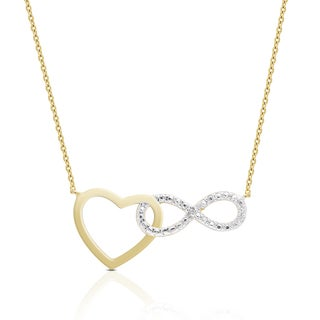 Finesque Gold Over Sterling Silver Diamond Accent Heart and Infinity Design Necklace