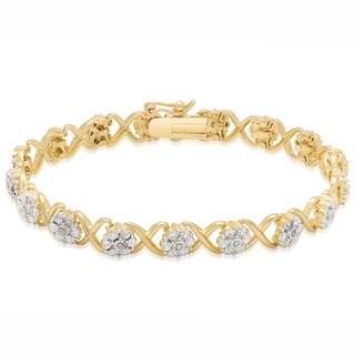 Finesque Gold Overlay Diamond Accent XO Bracelet
