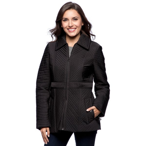 Shop Anne Klein Womens Black Quilted Jacket Free Shipping On
