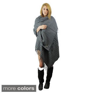 Le Nom Houndstooth Acrylic Woven Wrap and Shawl