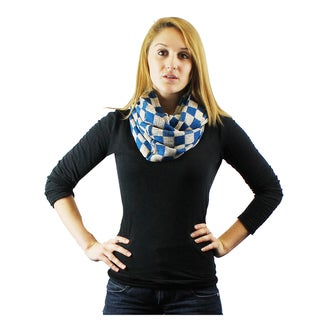 Le Nom Checker Pattern Knit Inifinity Scarf
