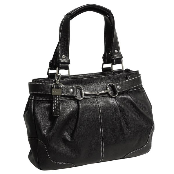 Buxton Leather Shoulder Bag With Belted Detail