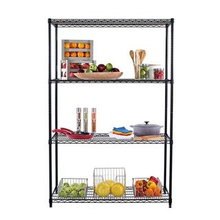 Trinity 4-Tier Black Shelving Rack