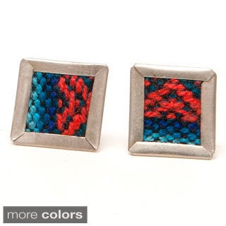 Escher Repurposed Fabric Stud Earrings (Bolivia)