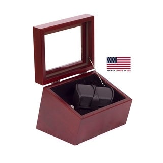 American Chest 'The Admiral' Solid Cherry Double Watch Winder
