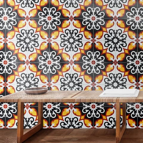 Agadir Royal Red, Yellow, Black Handmade 8x8in Moroccan Tile, Pack 12