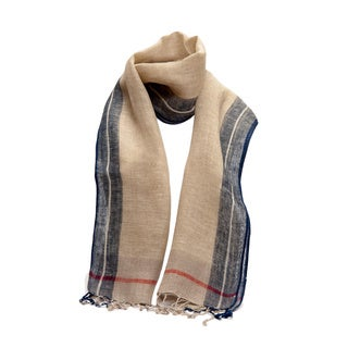 Hand-woven Plaid Linen Scarf (India)