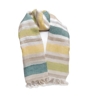 Hand-woven Striped Linen/ Viscose Scarf (India)