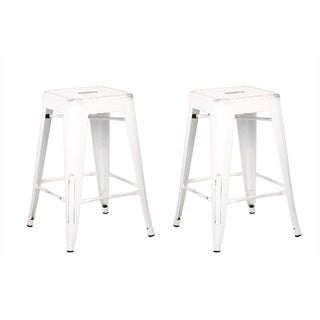 Industrial Style 29-inch White Barstool (Set of 2)