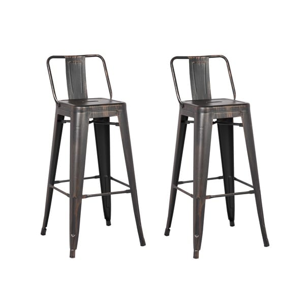 Carbon Loft Ruska Black Bar 29-inch Bar Stool (Set of 2)