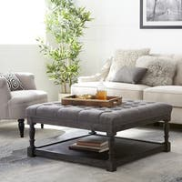 The Gray Barn Creston Smoke Grey Linen Tufted Ottoman
