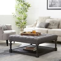 Stones & Stripes Creston Smoke Grey Linen Tufted Ottoman