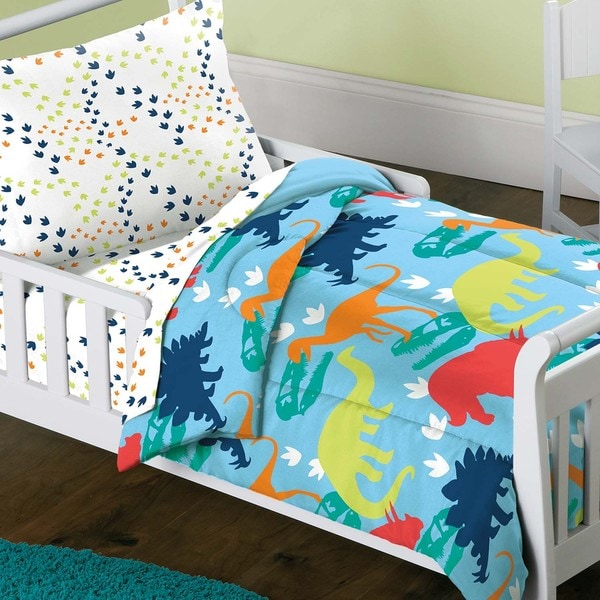 Superbe Dream Factory Dinosaur Prints 4 Piece Toddler Bedding Set